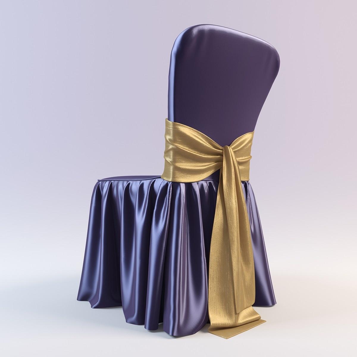 Атласный фиолетовый чехол на стул