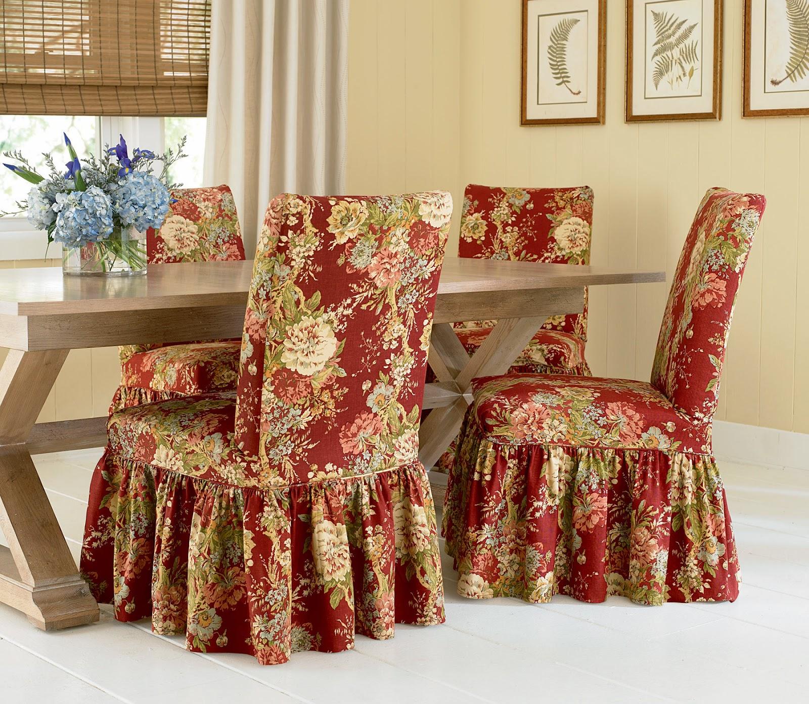 Цветочные чехлы на обеденные стулья