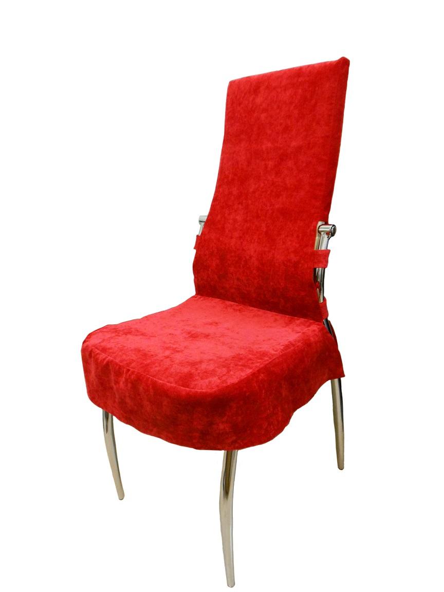 Красный бархатный чехол на стул