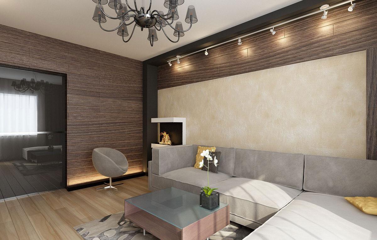 Бежевый, коричневый и серый цвета в интерьере гостиной