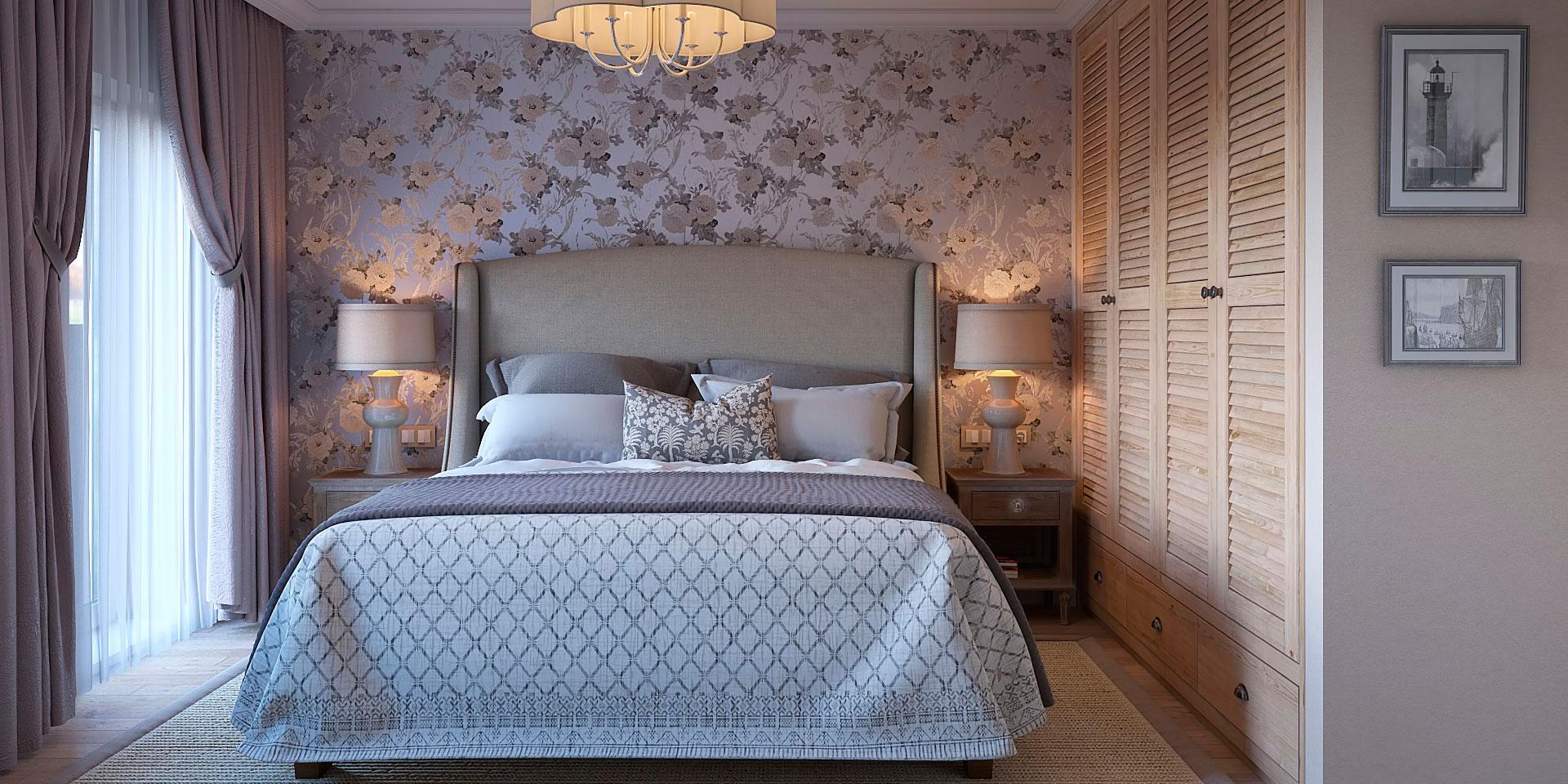 Дизайн спальни 18 кв м с цветочными обоями