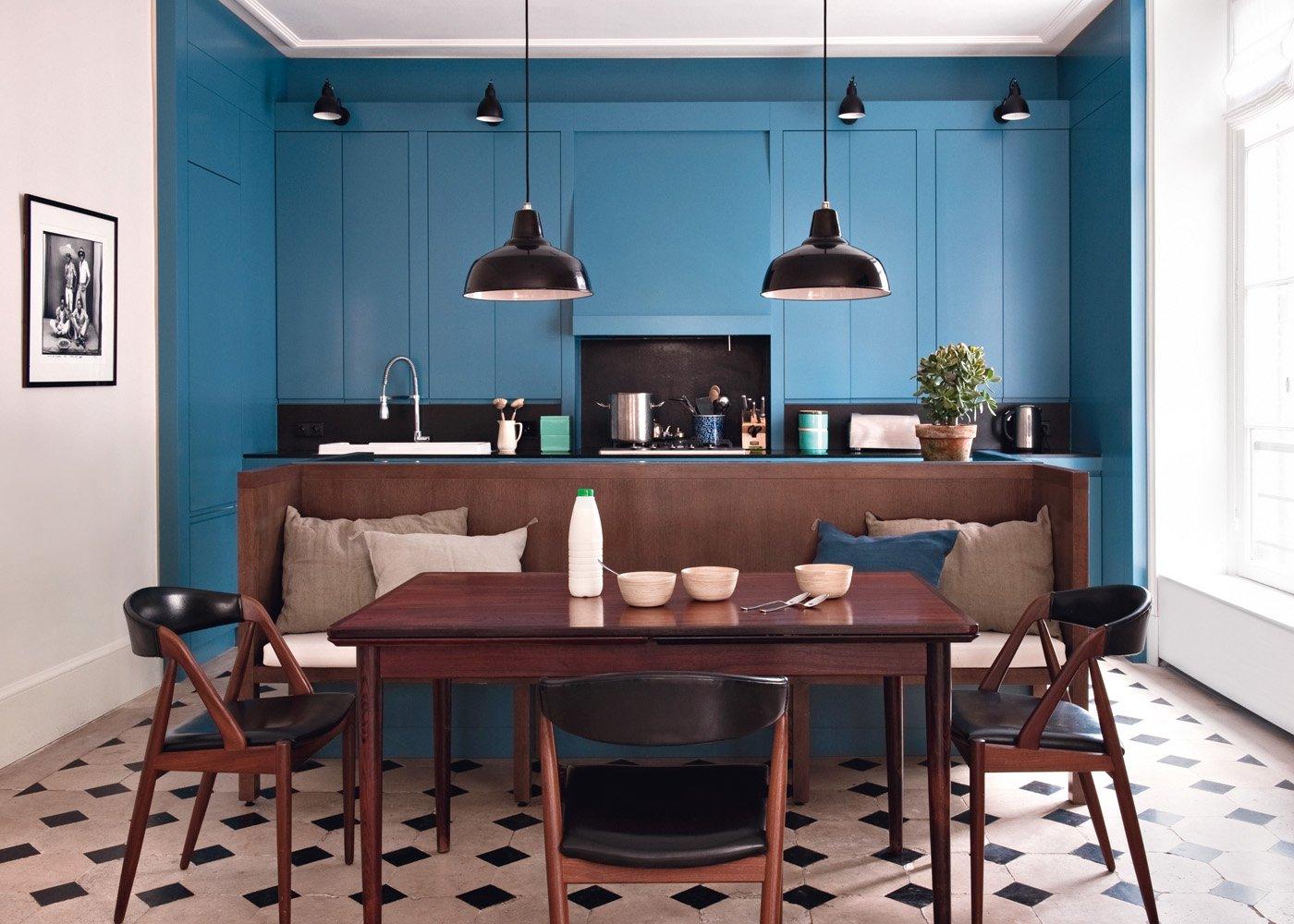 Кухня в голубых тонах дизайн