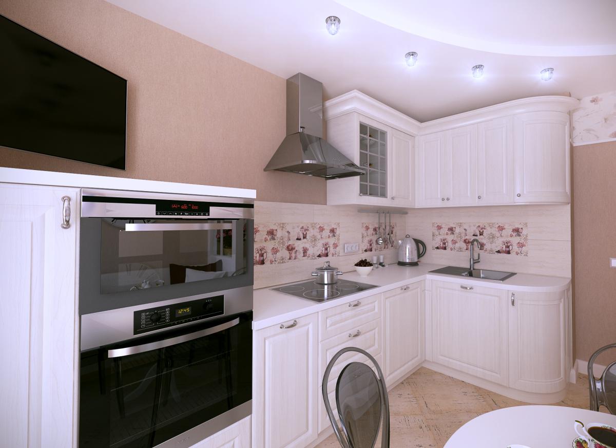 Белый угловой гарнитур в небольшой кухне