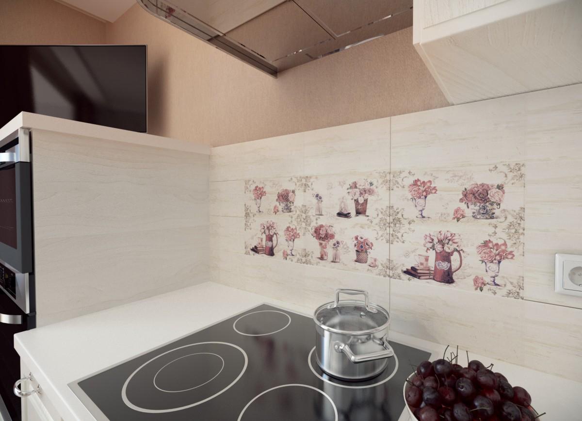 Цветочный фартук в дизайне кухни