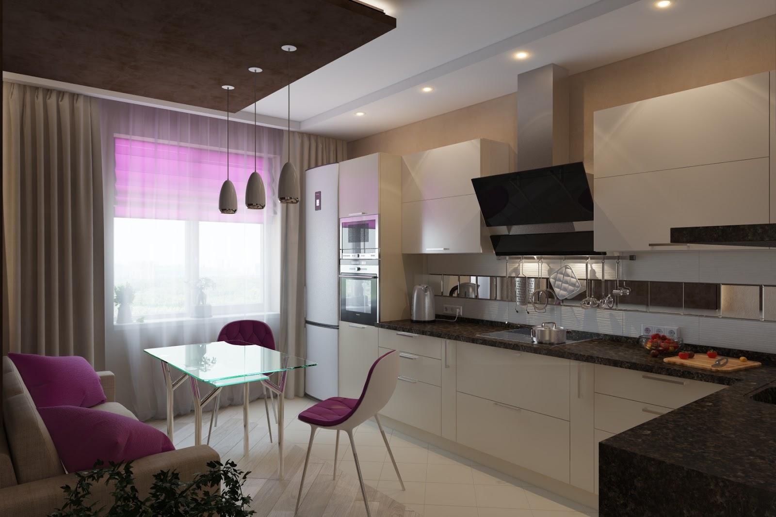 Фиолетовые акценты в черно-белой кухне 11 кв м