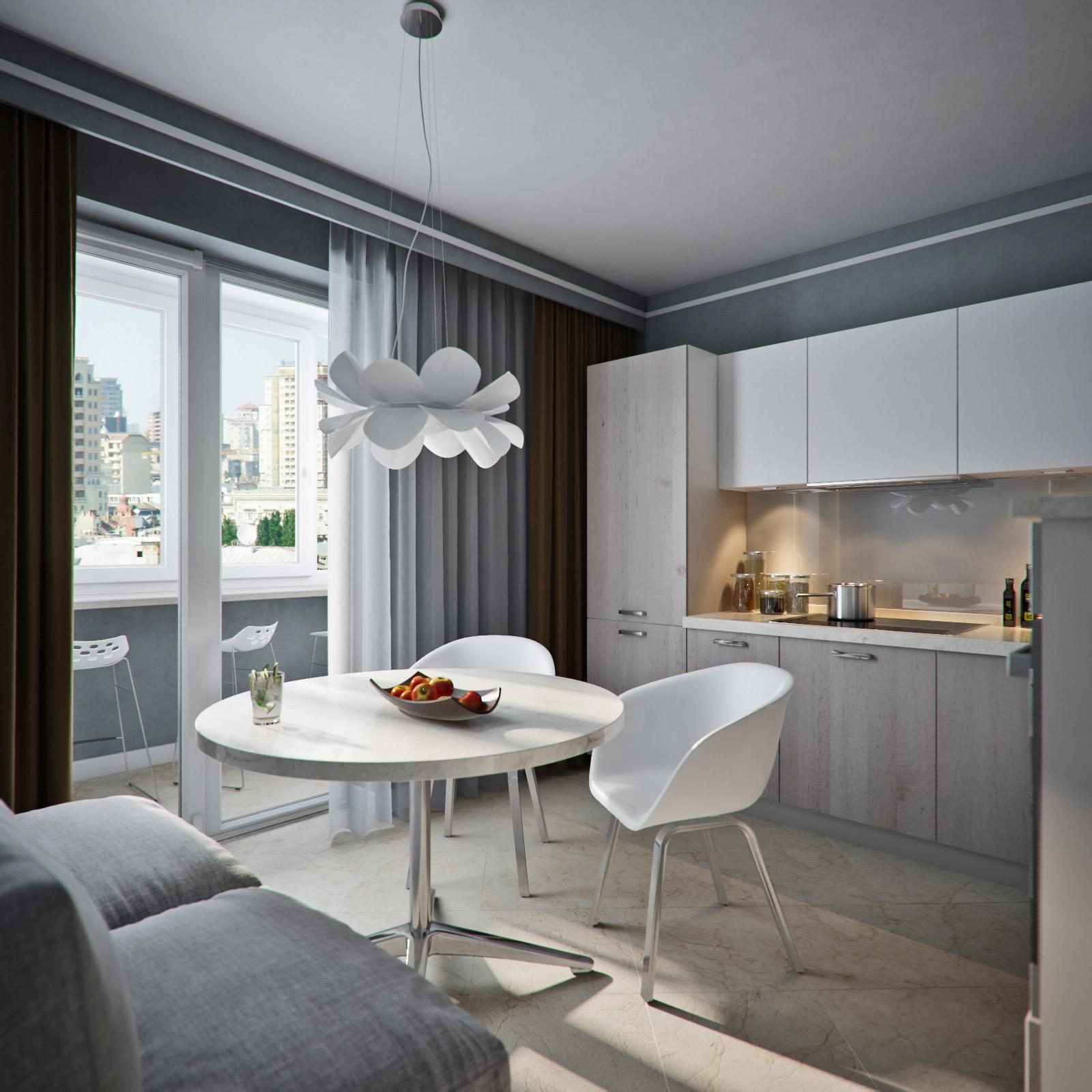 Серо-белая кухня с балконом