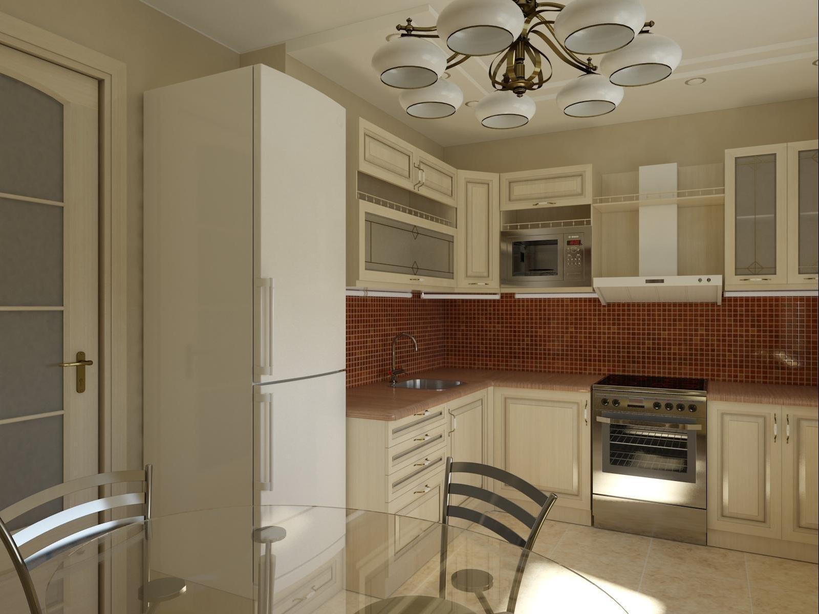 Бежево-белая кухня 11 кв м