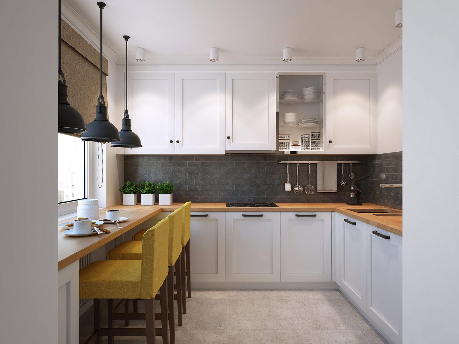 Черный фартук в бело-коричневой кухне 11 кв м