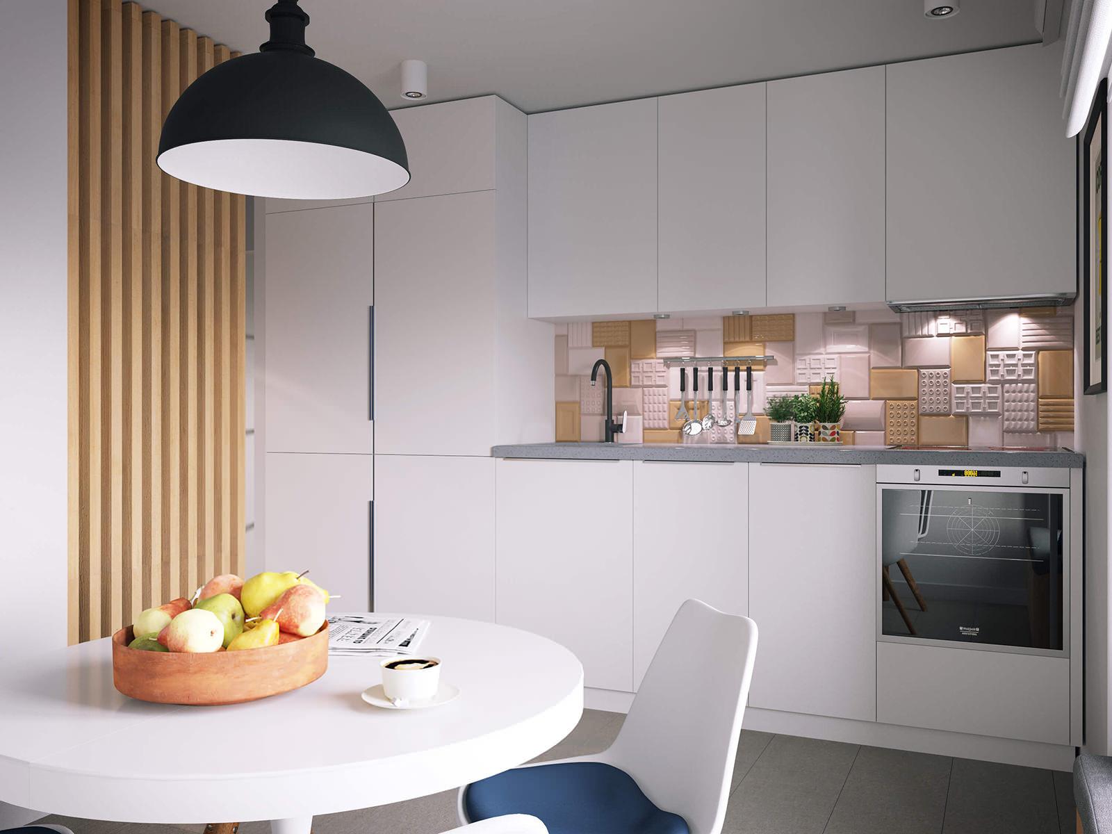 Круглый обеденный стол в небольшой кухне