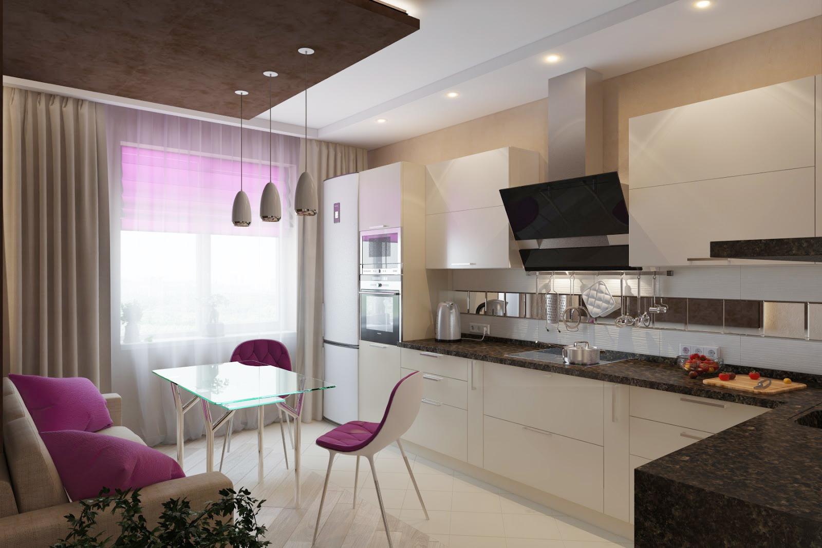 Черно-белая кухня-столовая с фиолетовыми акцентами