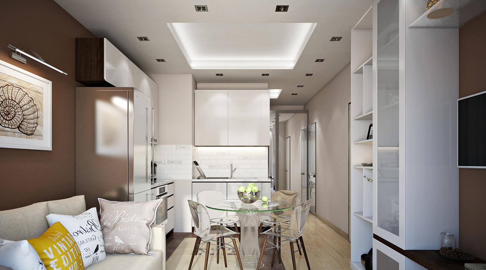 Светлая кухня-гостиная 18 кв м