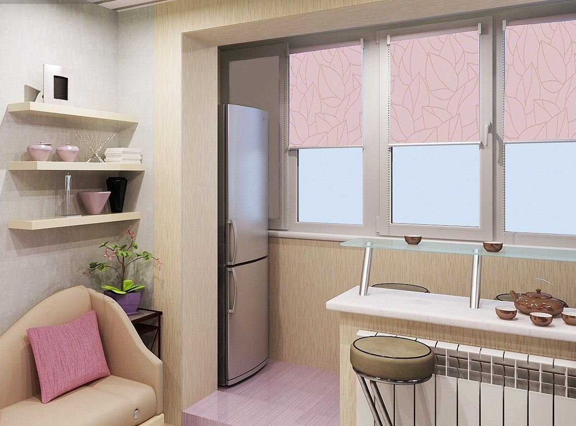 Кухня с розовыми акцентами, совмещенная с балконом