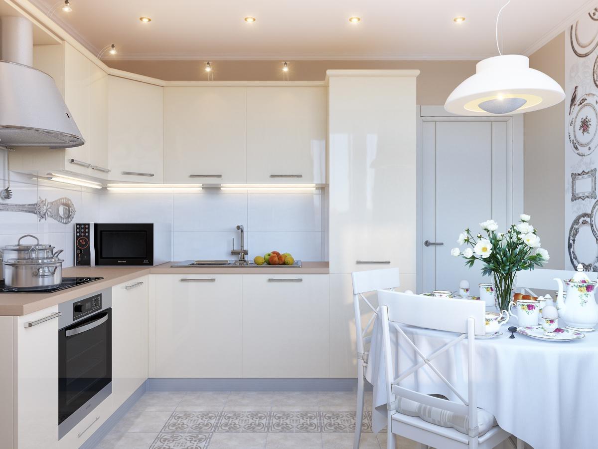 Бежевый, коричневый и белый цвета в интерьере кухни