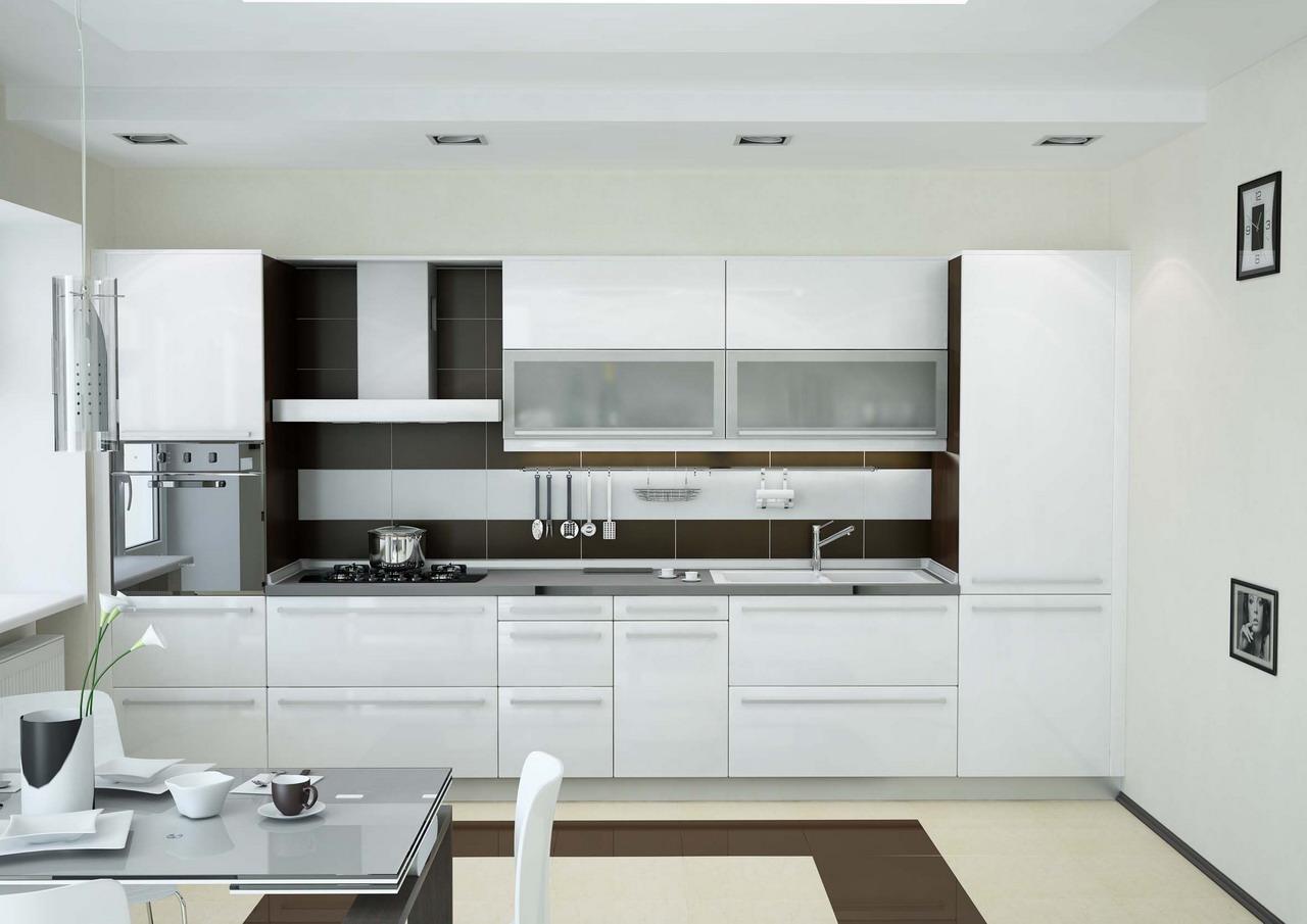 Коричнево-белая современная кухня 18 кв м