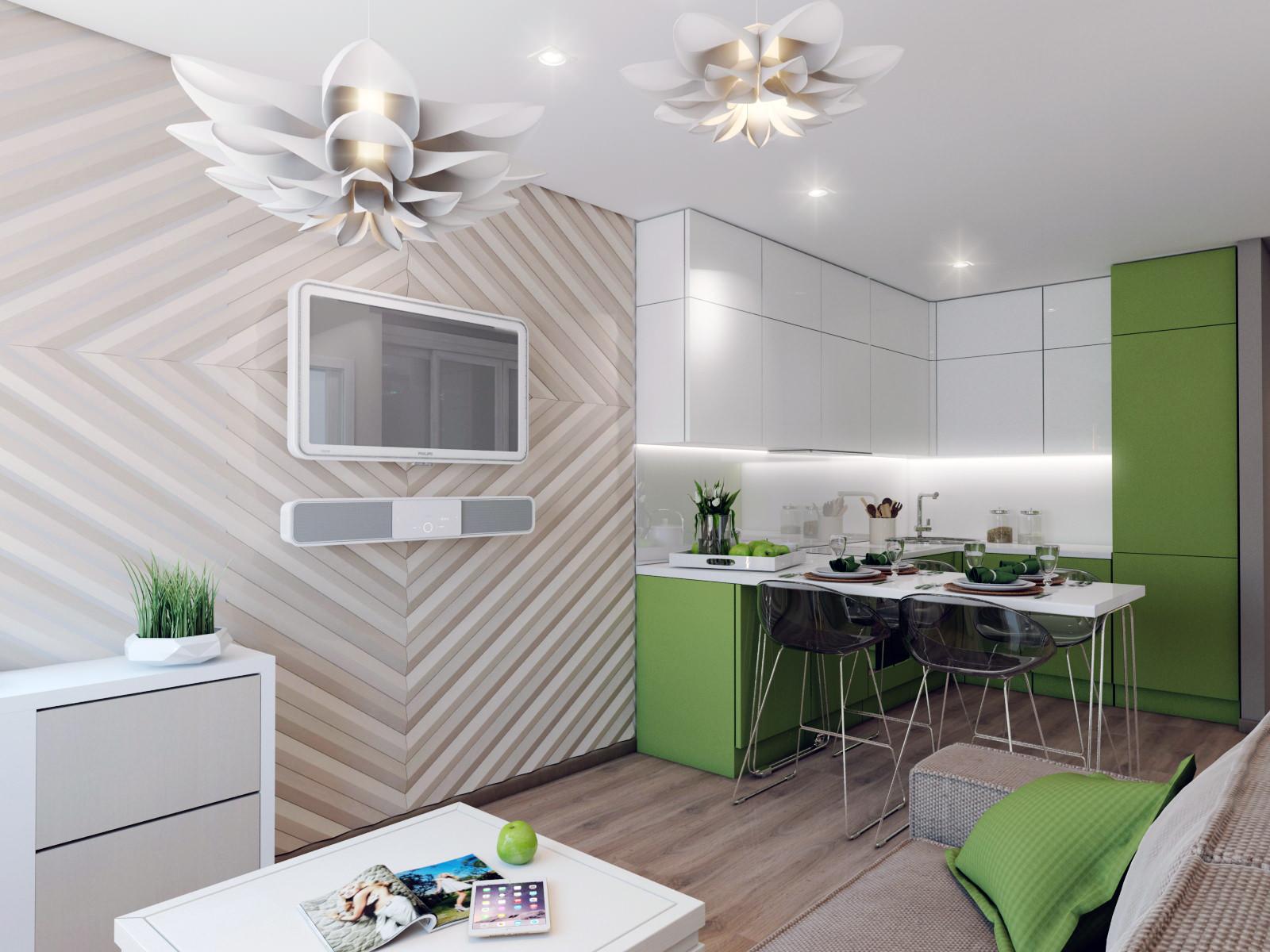 Кухня-гостиная с зелеными акцентами