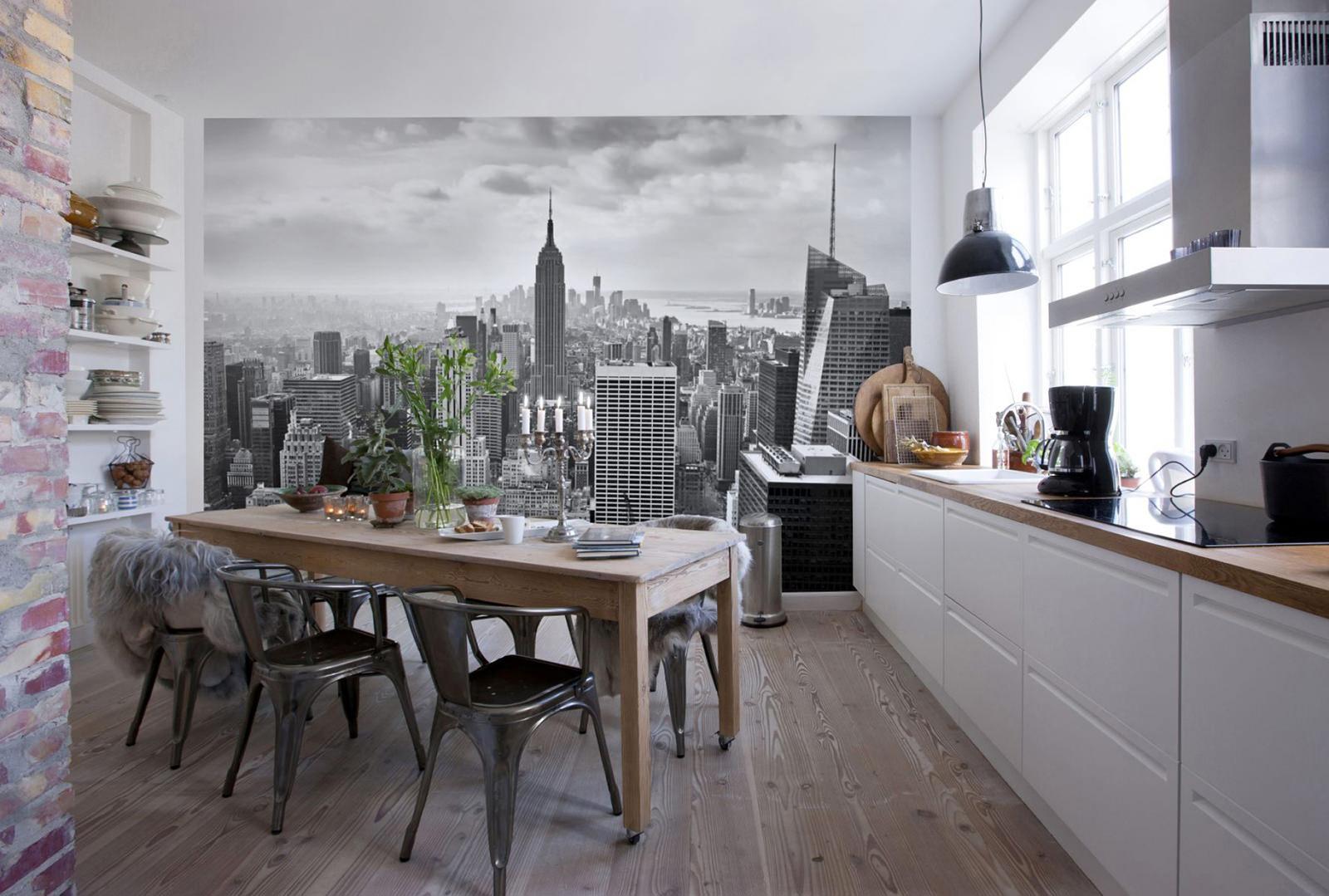 Серый, белый и коричневый в интерьере кухни