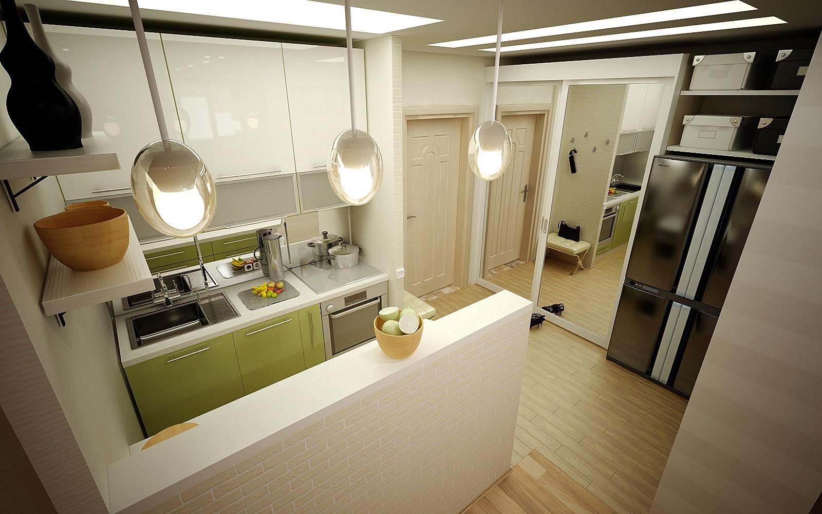 Совмещение кухни и прихожей в дизайне квартиры
