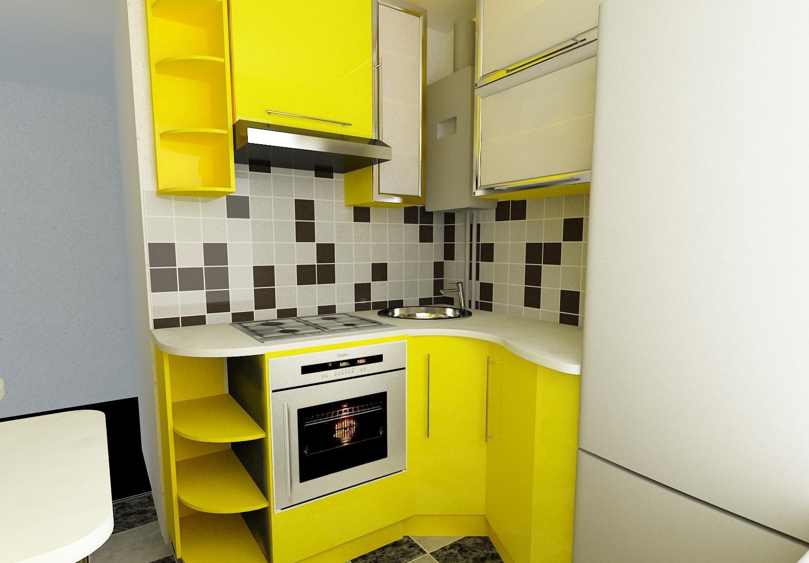 Желтая маленькая кухня 5 кв м