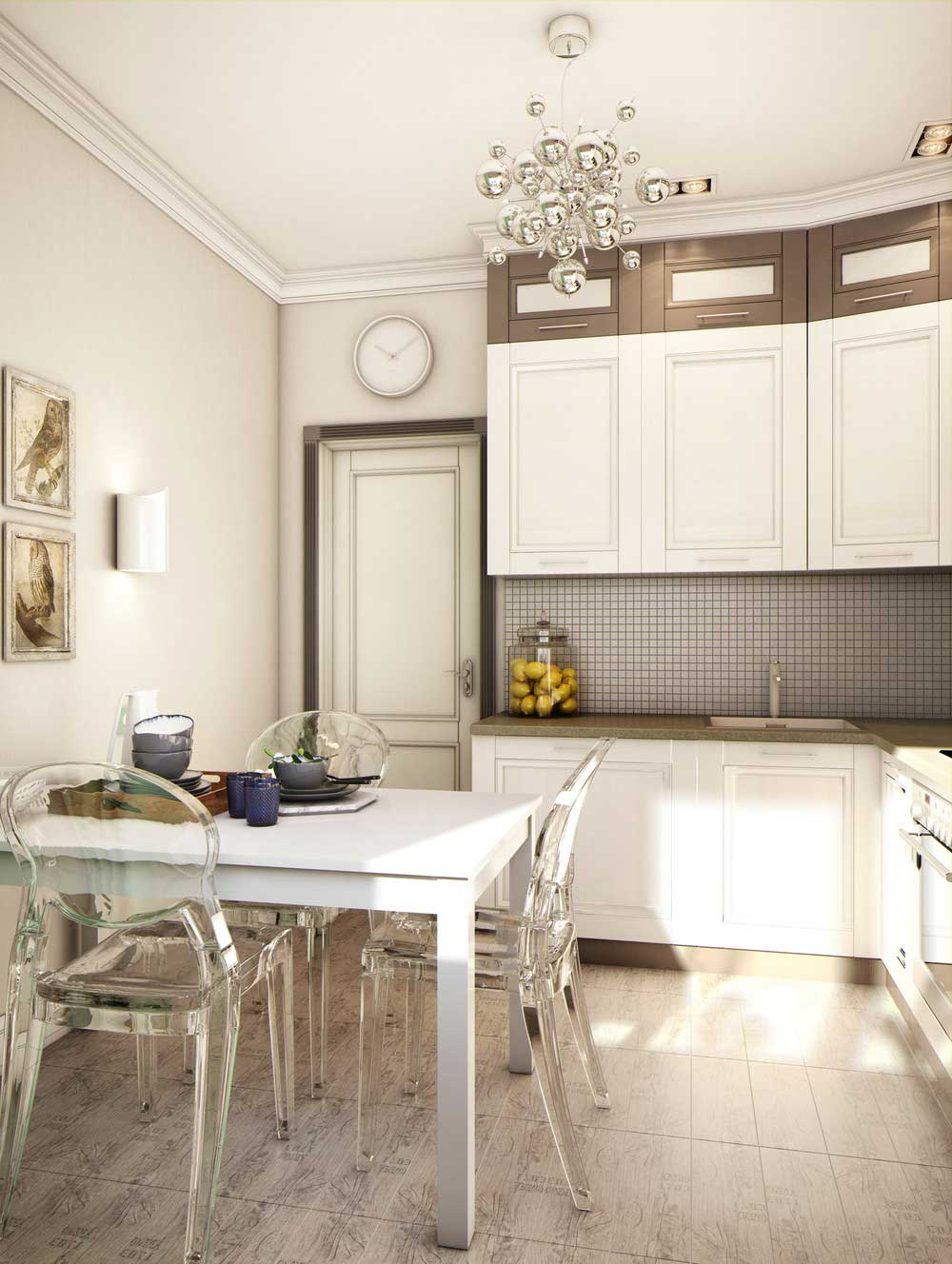 Маленькая коричнево-белая кухня