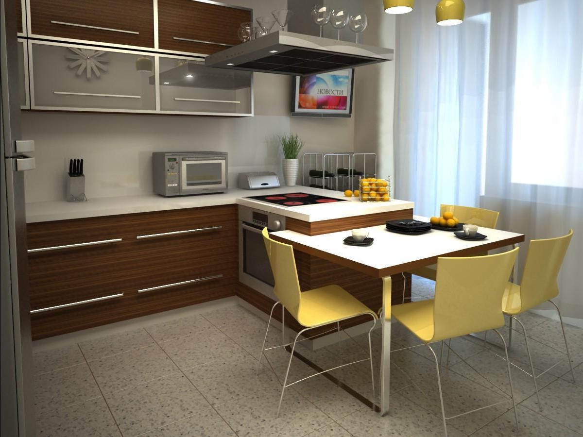 Маленькая кухня с желтыми акцентами