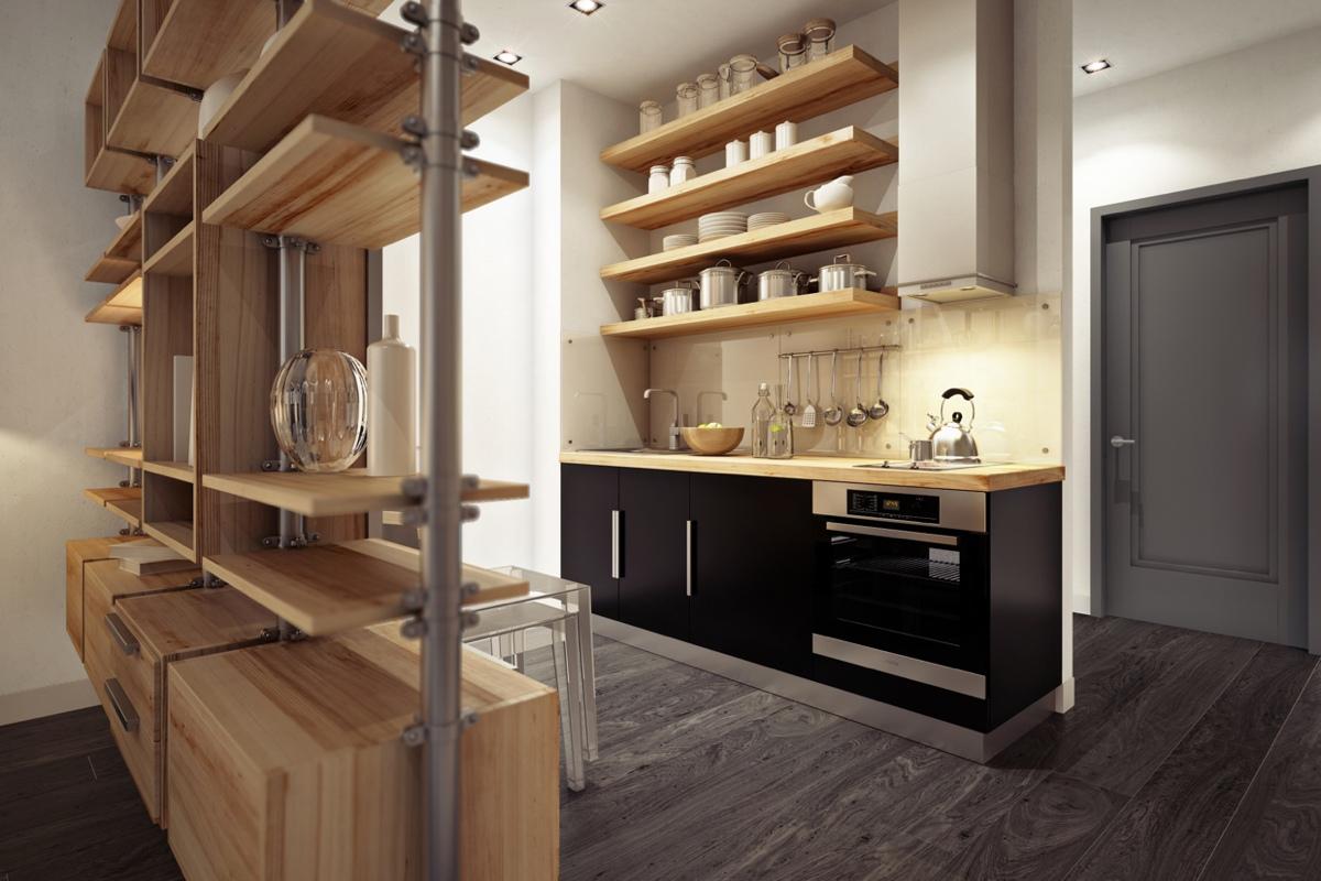 Бежево-черный гарнитур в небольшой кухне