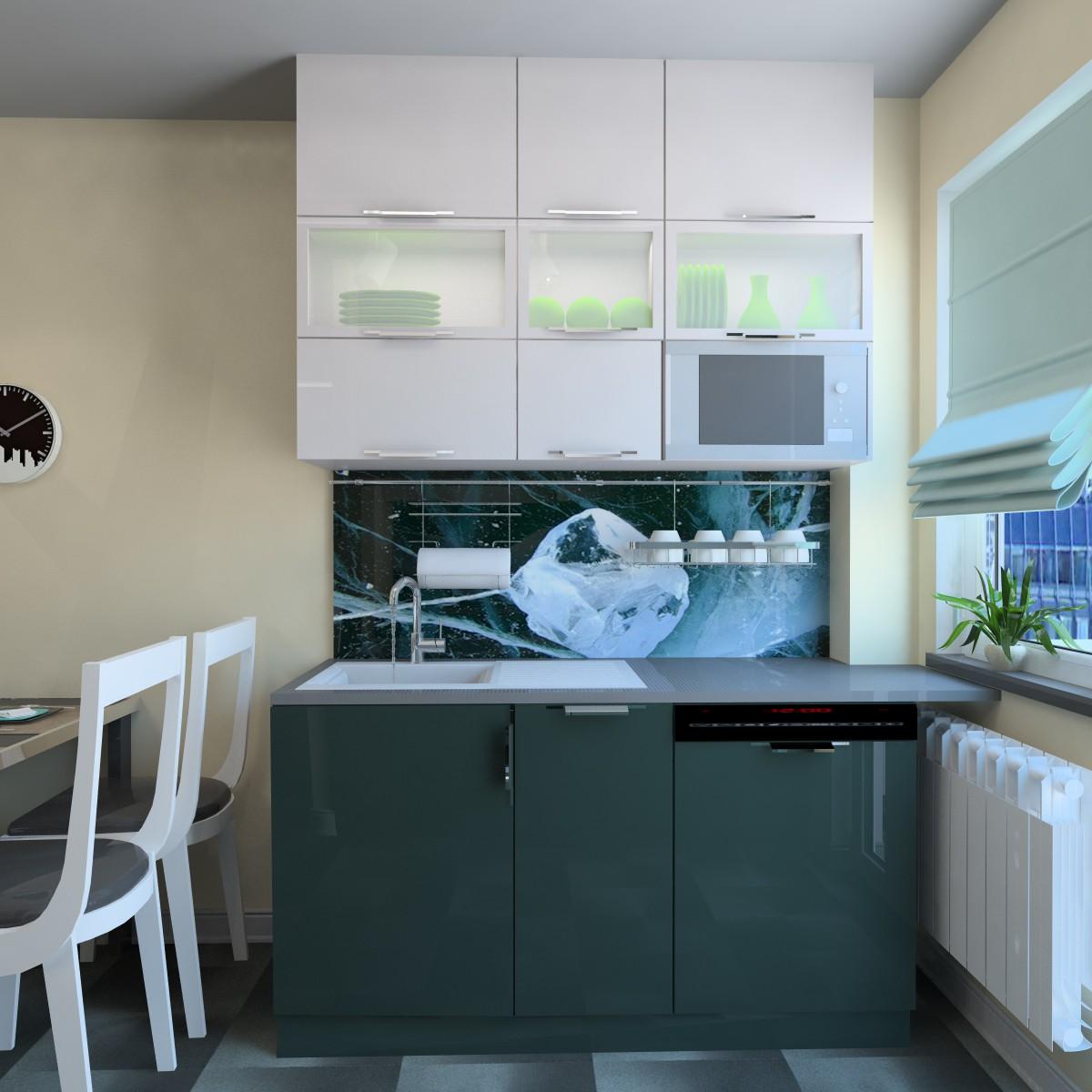 Маленький бело-зеленый кухонный гарнитур