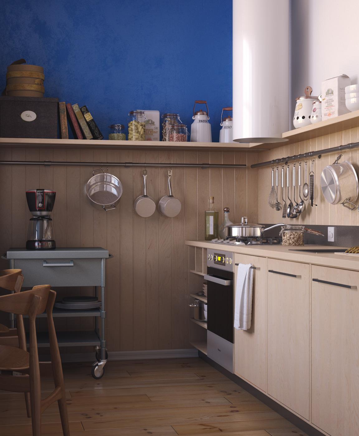 Маленькая бежево-синяя кухня 5 кв м