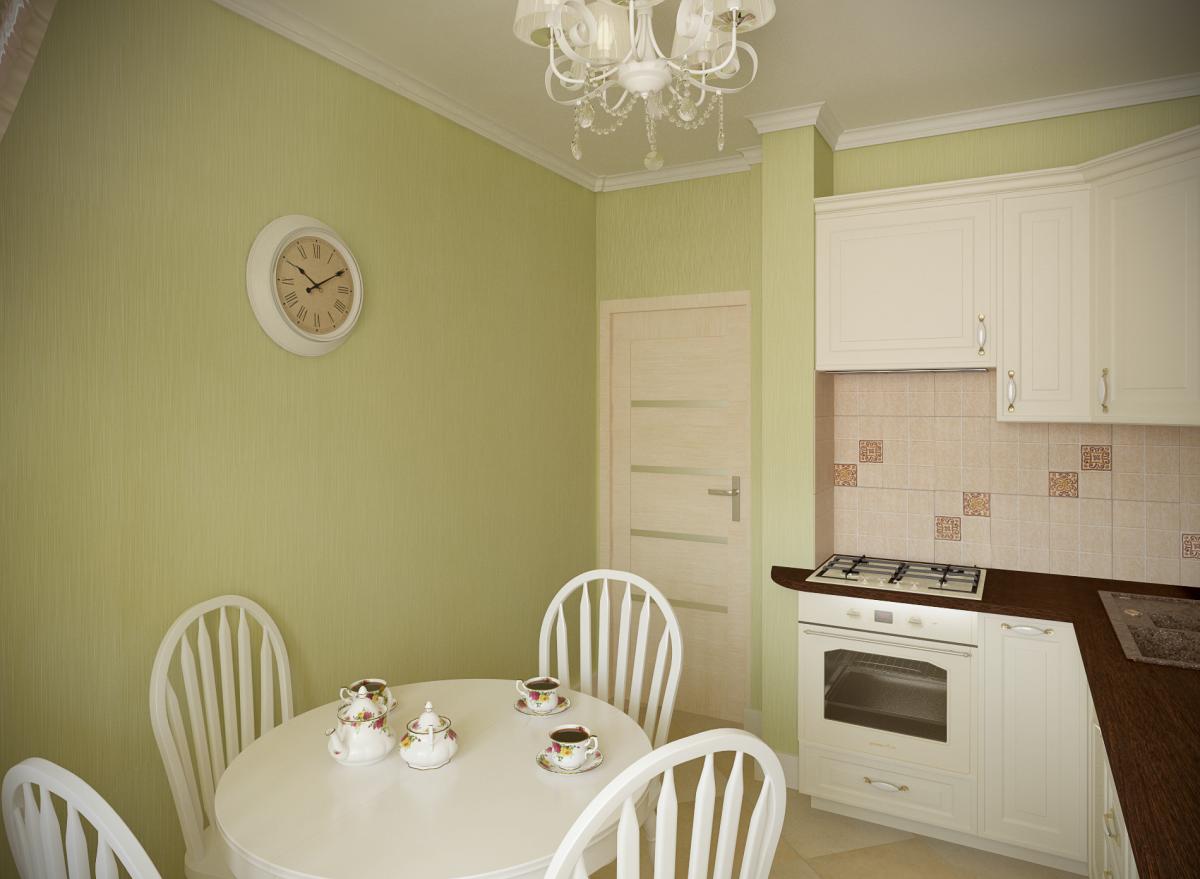 Салатовые стены в кухне 8 кв м