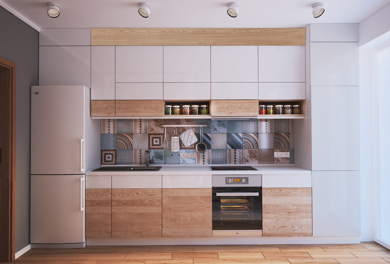 Коричнево-белый гарнитур в интерьере кухни