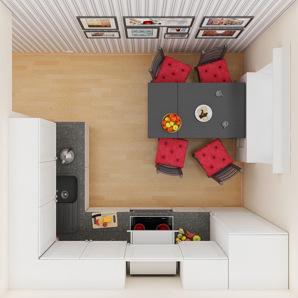 План-схема кухни 8 кв м