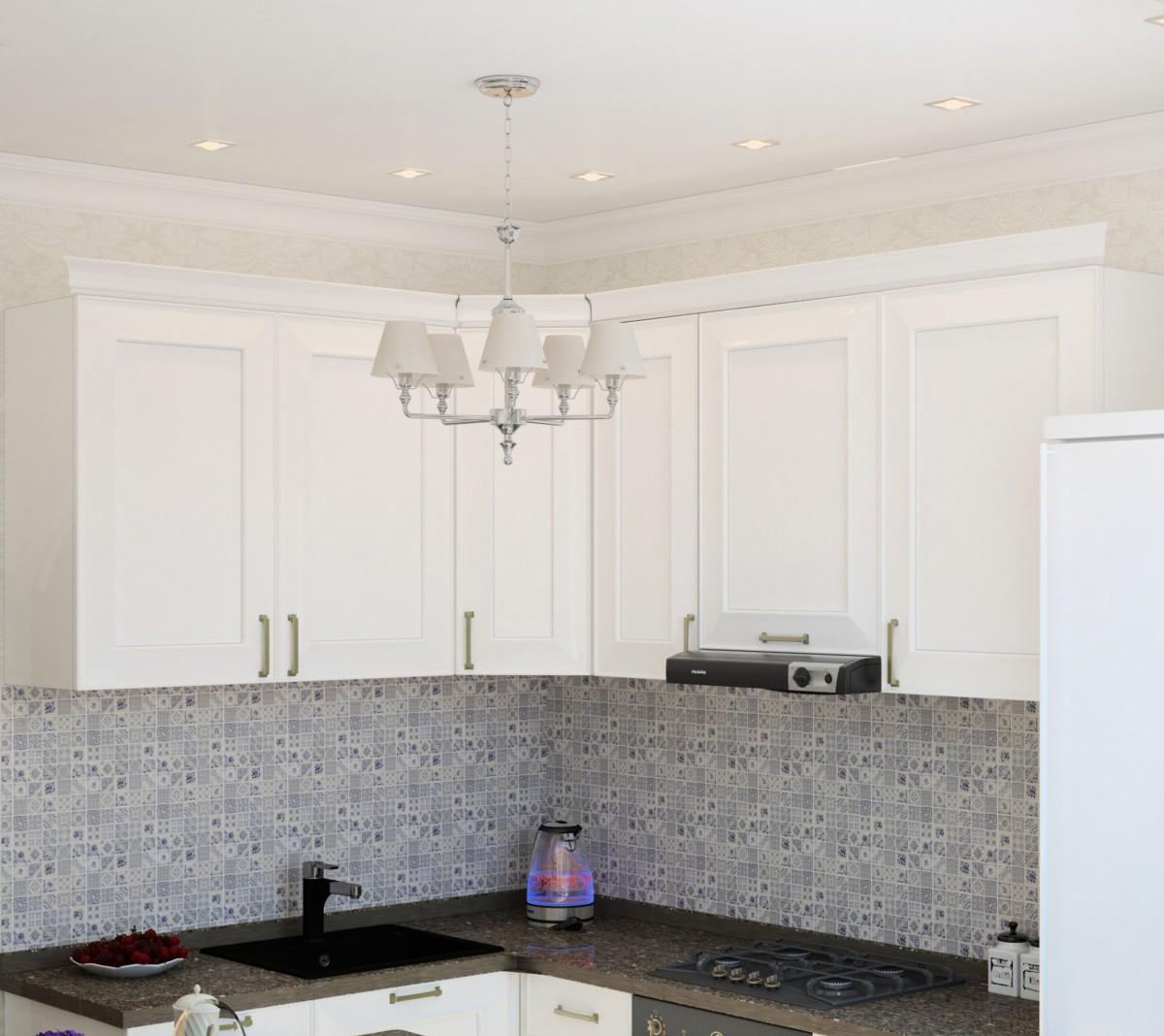 Красивое освещение в небольшой кухне
