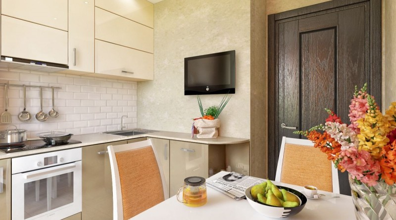 Кухня 8 кв м в пастельных тонах