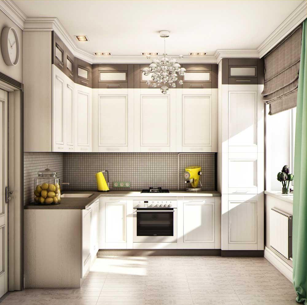 Угловой черно-белый кухонный гарнитур