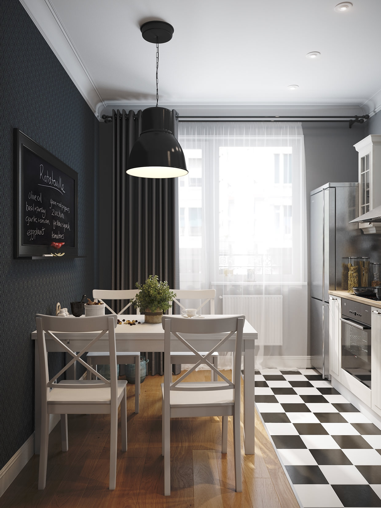 Контрастный дизайн небольшой кухни