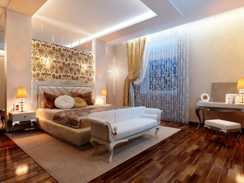 Золотистый, белый и коричневый цвета в интерьере спальни 16 кв м