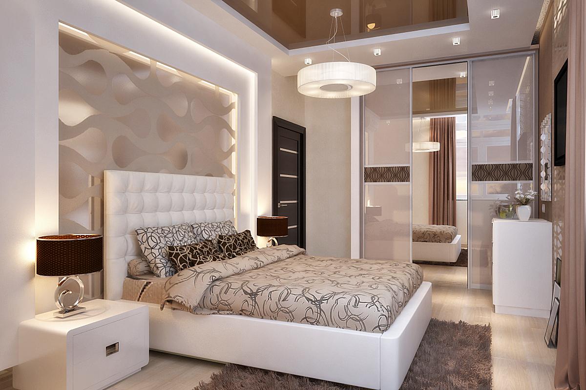 Бежево-белый дизайн спальни