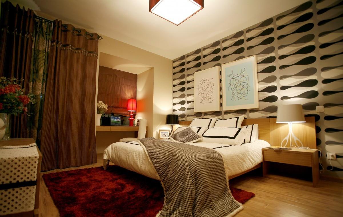 Белый, бежевый, красный и коричневый цвета в интерьере спальни