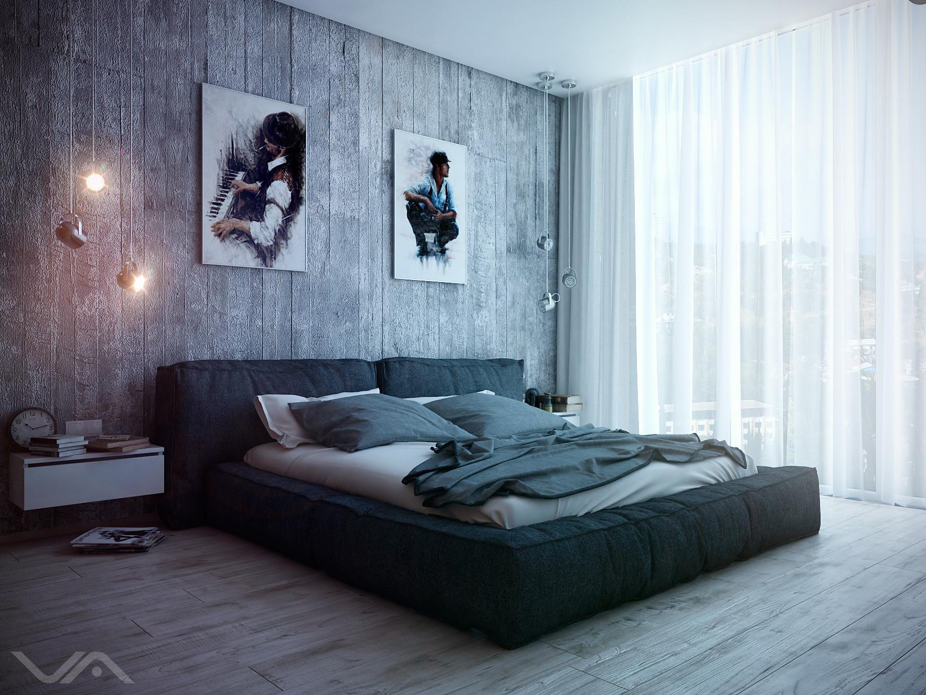 Черно-серая современная спальня