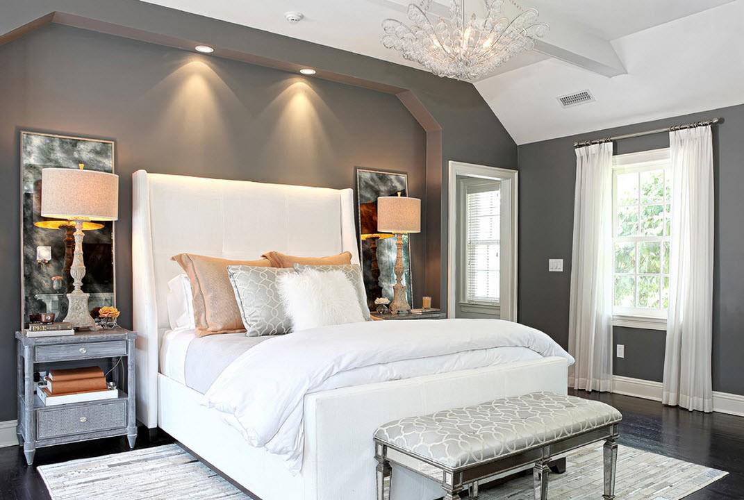 Серо-белая спальня в стиле модерн