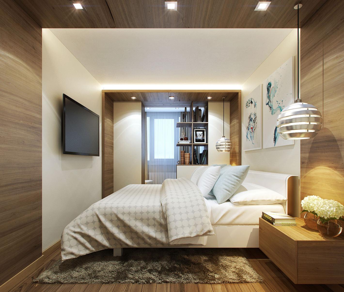 Коричнево-белая узкая спальня
