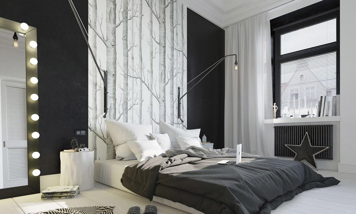 Черно-белая спальня в стиле поп-арт