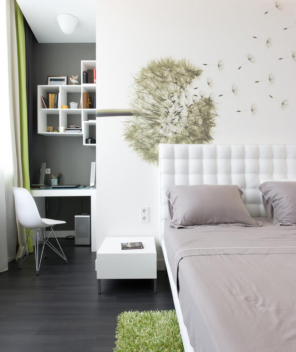 Белый, зеленый и черный цвета в интерьере спальни