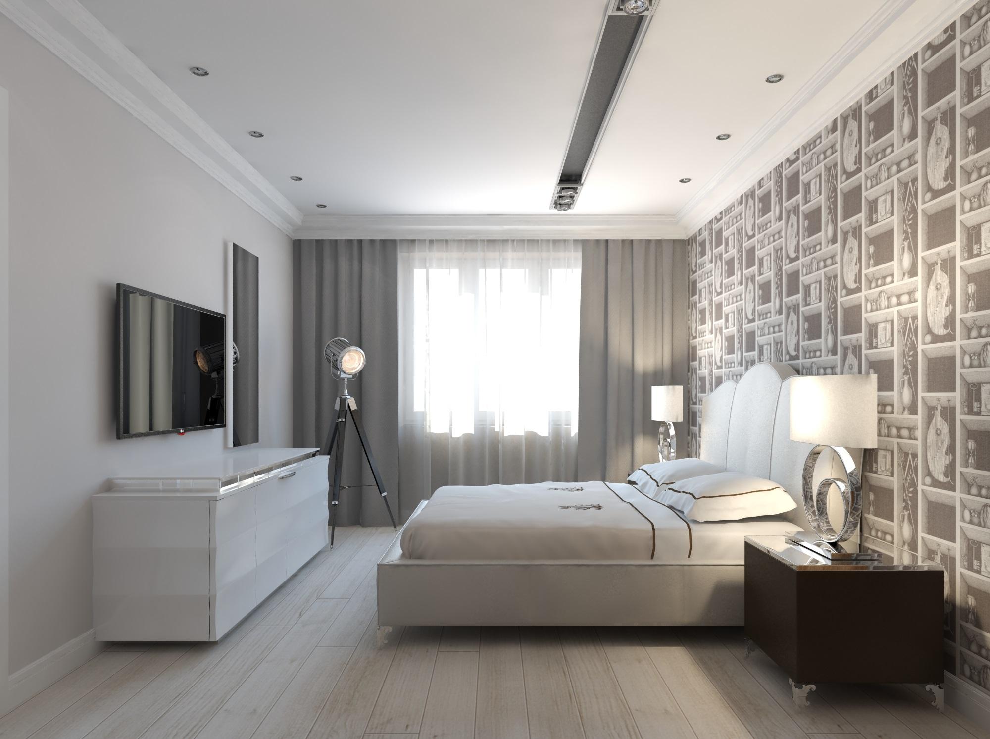 Белый потолок в дизайне спальни