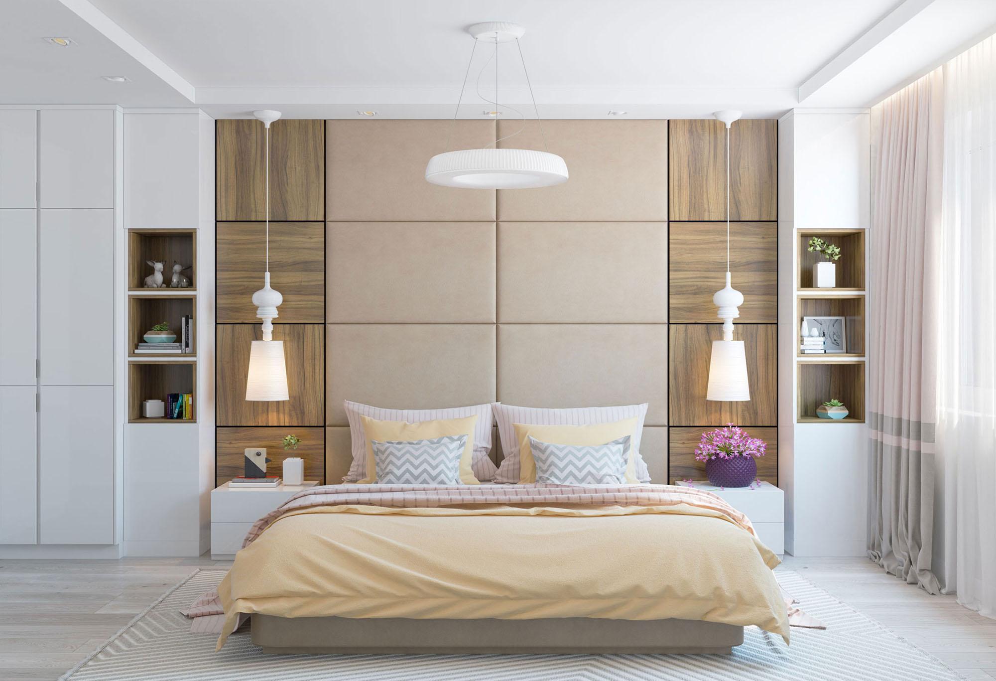 Коричнево-белая спальня в стиле минимализм