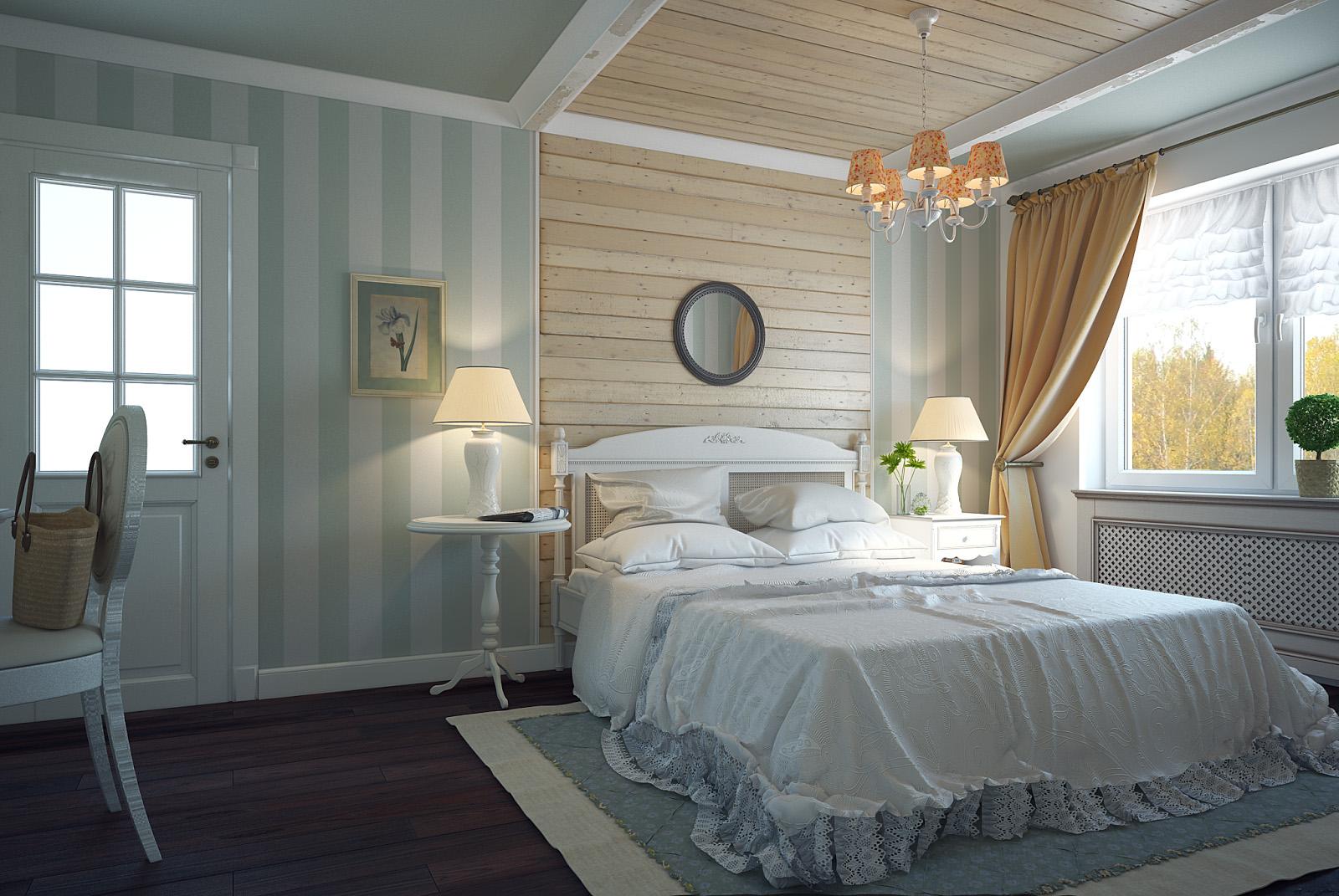 Бежево-голубая спальня в стиле французского кантри