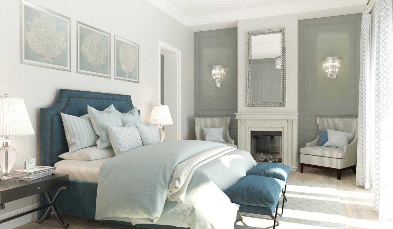Бело-зеленые стены в спальне