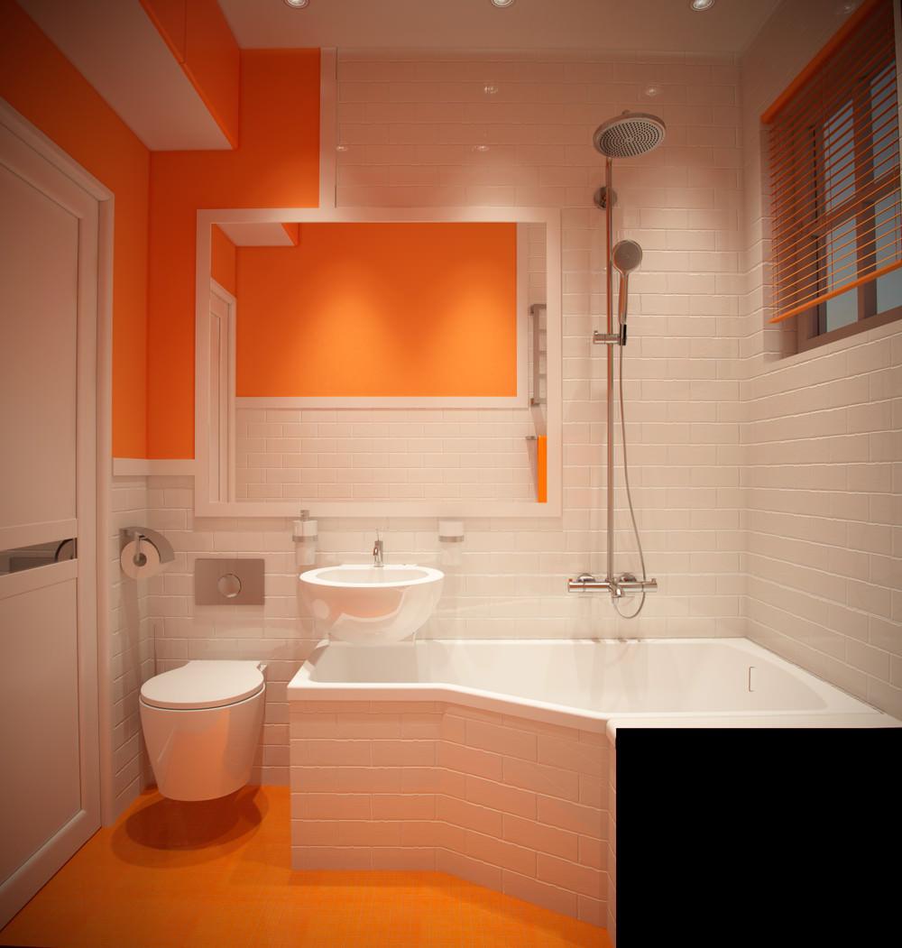 Оранжево-белая ванная комната