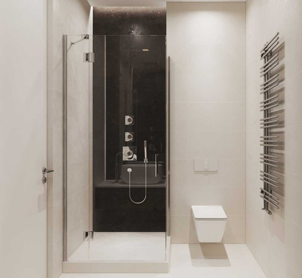 Минималистичная ванная комната 3 кв м