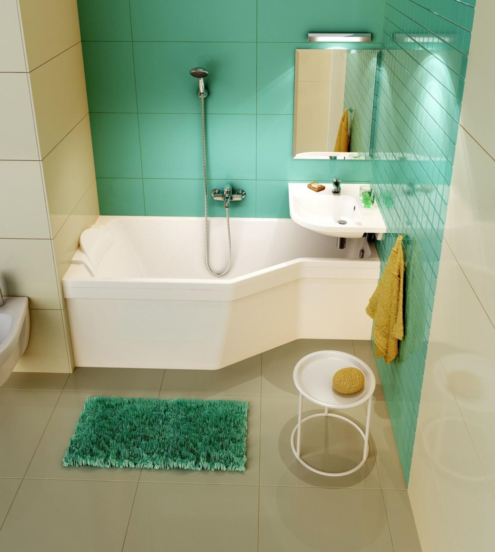 Бежевый, белый и зеленый цвета в интерьере ванной