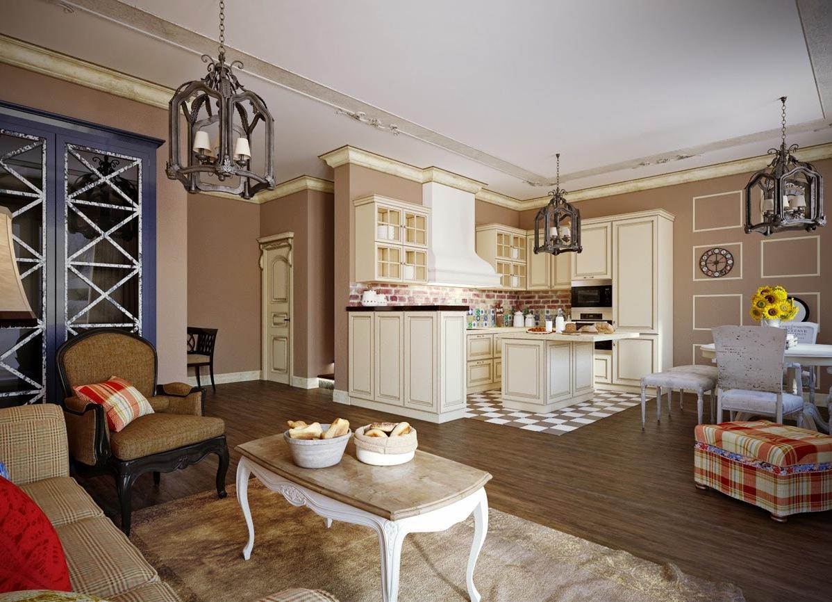 Бежевая гостиная-кухня в стиле кантри